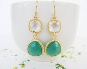 Crystal and Emerald Earrings Gold Kelly Green Bridesmaids Earrings Kelly Green Earrings White and Green Earrings Jade green earrings