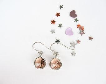 Silver Peach Flower Girl Earrings Blush TinyTeardrop Earrings Peach Glass Small Earrings Champagne Silver Earrings Flower Girl Earrings