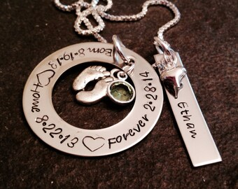 Personalized adoption necklace hand stamped