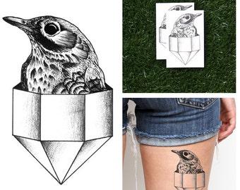 Diamond Bird - Temporary Tattoo (Set of 2)