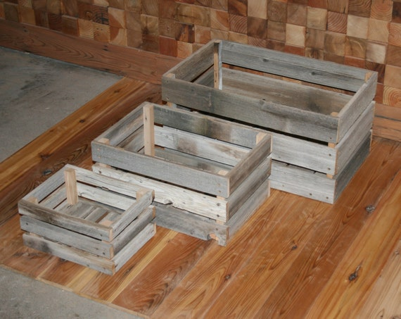 Barn wood milk crate nesting set of 3 by lunarcanyon on etsy for Where can i buy wooden milk crates