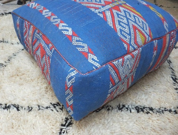 Giant Moroccan Floor Pillows : Vintage Moroccan Berber Kilim Pouf Large Floor by BoutiqueMaroc