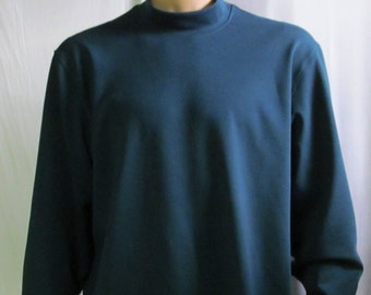 Teal Blue Mock Turtleneck Mens Size S M L XL XXL Big and Tall Extra Long