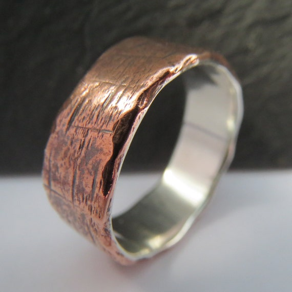 Ring In The Steampunk Decor To Pimp Up Your Home: Mens Wedding Ring Rustic Copper And Sterling By BootAndHammer