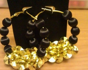 Love and Hip Hop and Basketball wives inspired hoop with black and gold beads