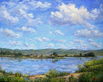 Italian Landscape, Impressionist oil,  Italy, tuscany, landscape, lake, water reflection, clouds, trees, green, blue, Sessa
