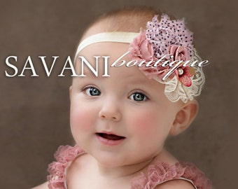 Baby headband,Dust pink ivory shabby chic baby headband, pink flower headband, baby girl headband, newborn toddler headband