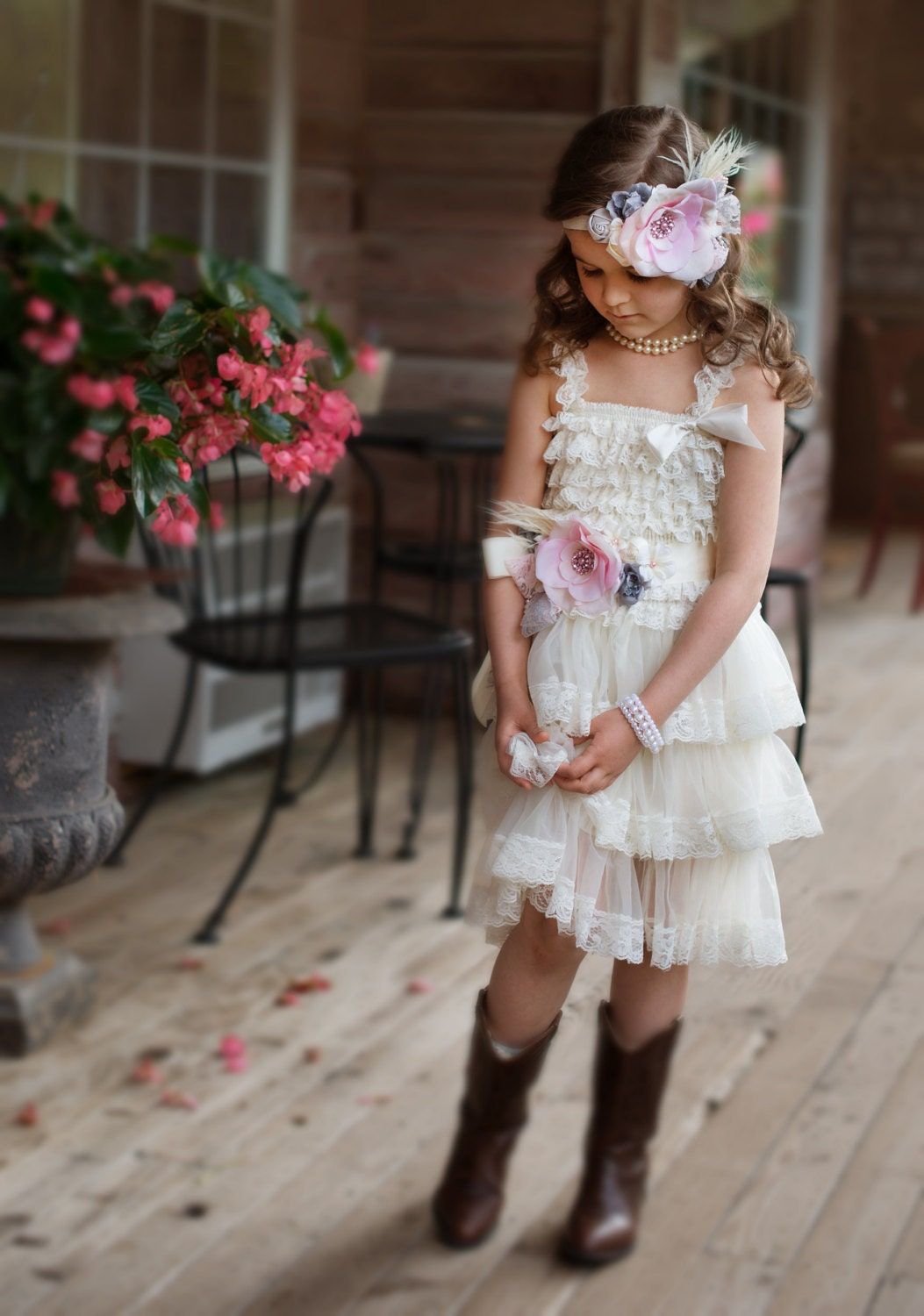 Flower girl dress set 3 pcs wedding flower girl shabby - Shabby chic outfit ideas ...