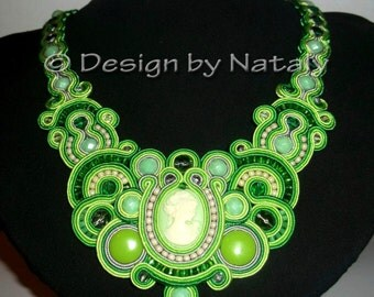 FREE SHIPPING  Soutache Necklace Czech Glass Beads Jewelry Accessories