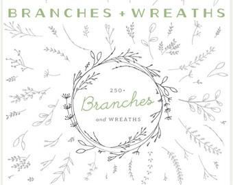 Branches, Wreaths & Laurels Bundle - PNG Files - Clip Art - Digital Graphic Set - Photo Overlays