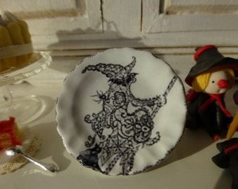 White Halloween Witch Plate for Dollhouse