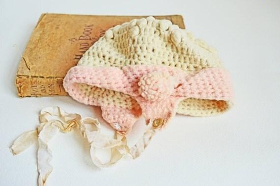 Vintage crochet hat vintage baby hat nursery decor by - Crochet mural vintage ...