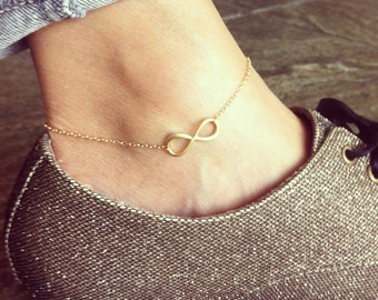 Infinity pendent 14K gold filled anklet, lovely and delicate
