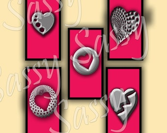 Metal Hearts Pink Domino Pendant Collage Sheet