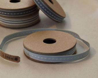 East of India Cotton Tape Pale Blue With Ecru Trim Ribbon Per Metre