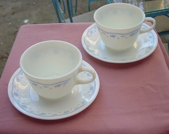 Vintage Corning Corelle Morning Blue Cup Saucer Set Of Two