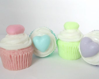 Scented Heart Topped Cupcake Soap - Pick Your Color & Scent