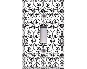 Black and White Intricate Light Switch Cover
