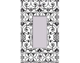 Black and White Intricate Rocker/GFI Cover