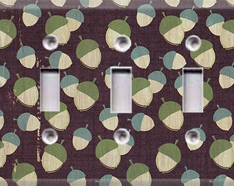 Nature Lover Collection - Acorns Triple Light Switch Cover