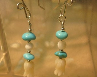 Mother of Pearl Tulip-Turquoise and Sterling Silver Earrings- Tom Nugent