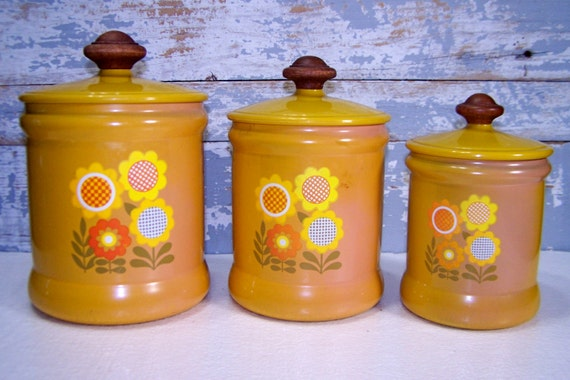 canister set yellow dasey floral metal vintage by