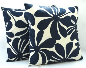 Two Premier prints navy  floral pillow covers, cushion, 18x18, decorative throw pillow, decorative pillow, home decor