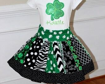 St Patricks Day outfit Girls St Patricks Day skirt set Shamrock outfit Saint Patricks Day chevron zebra polka dot clothing toddler baby girl