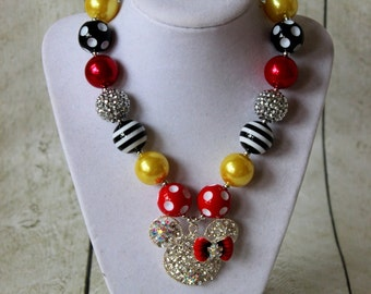 girls chunky bubblegum bead necklace red yellow minnie mouse necklace girls necklace chunky necklace summer bubble gum necklace birthday