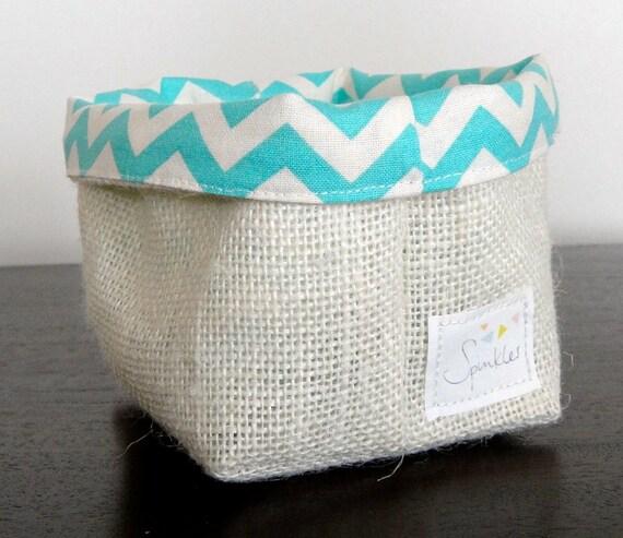 Algod n forrado cesta de tela de arpillera peque o - Cestos de tela ...