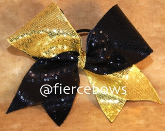 Gold and Black Sequin Tick Tock Cheer Bow