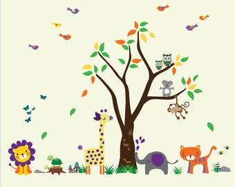 Jungle WALL DECAL, Nursery Tree Wall Decal, Kids Wall Decal Reusable - N105