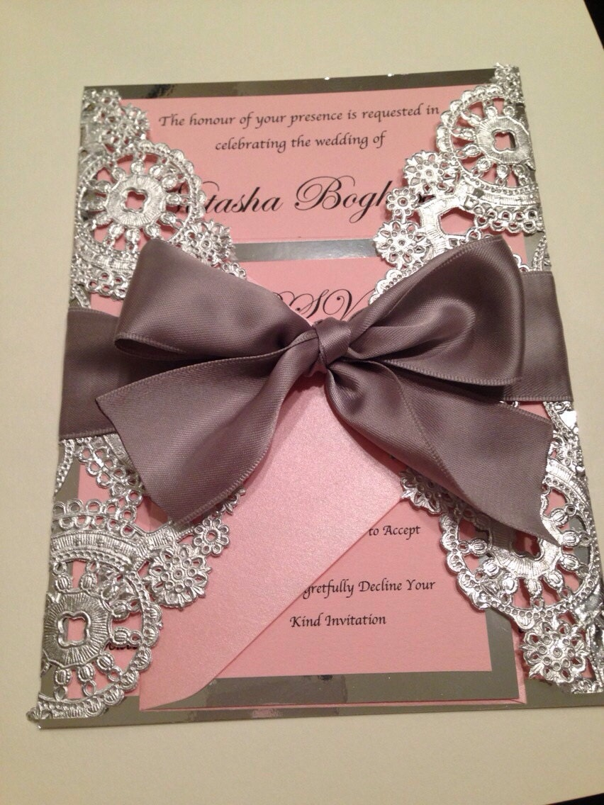 sample metallic doilies wedding invitation by