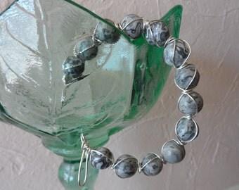 Grey Picture Jasper Silver Wire Wrapped Bracelet