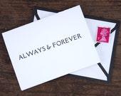 Always & Forever Letterpress Greeting Card