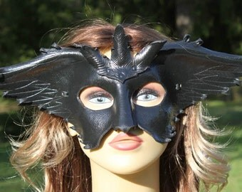 leather black raven mask