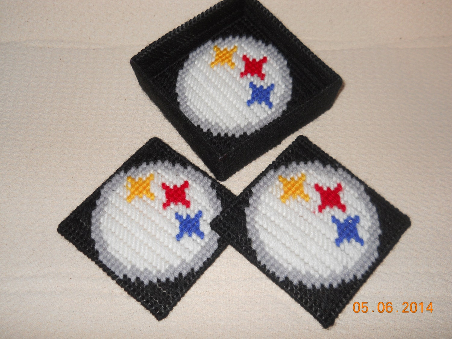 Steelers Coasters in Plastic canvas