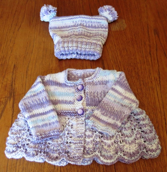 Fair Isle Look Baby Girl Smock/Sweater/Jacket with Matching