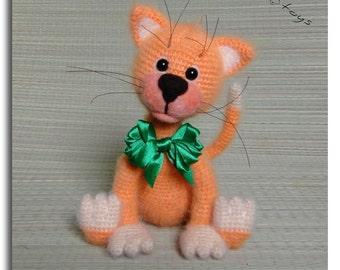 Ginger KITTEN OOAK Stuffed Animals Crochet Handmade Soft toy decor Amigurumi Made to order
