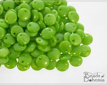 50 pc Juicy Green Silk Lentil Beads 6 mm (8559)