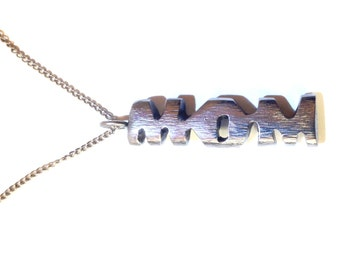 Mom Pendant Made From Repurposed Stainless Steel Perfect for Mother's Day--Will Ship Immediately and Gift Wrapped