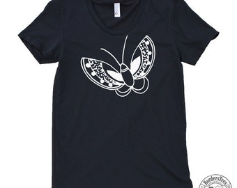 Women's BUTTERFLY American Apparel Poly-Cotton Tee