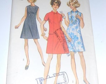 Vintage 1960's SIMPLICITY 8603 Sewing Pattern A-line Dress Sz 12 1/2 Bust 35 Half Size