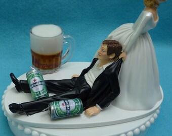 Bride Dragging Groom Liverpool Cake Topper