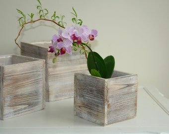 wood boxes square wood box vases wedding orchids flower pot centerpiece barn rustic garden chic wedding boxes