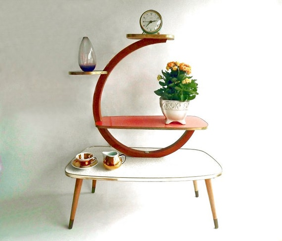 mid century plant stand display table shelves table by lunartics. Black Bedroom Furniture Sets. Home Design Ideas