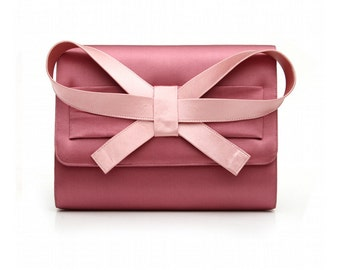 Bow Handclutch. Big Bow Satin Hand Clutch. Bow Evening Clutch, Clutch bag with Bow in Front