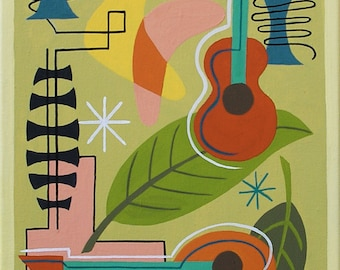 Mid Century Modern Eames Retro Limited Edition Print from Original Painting Guitar Mandolin