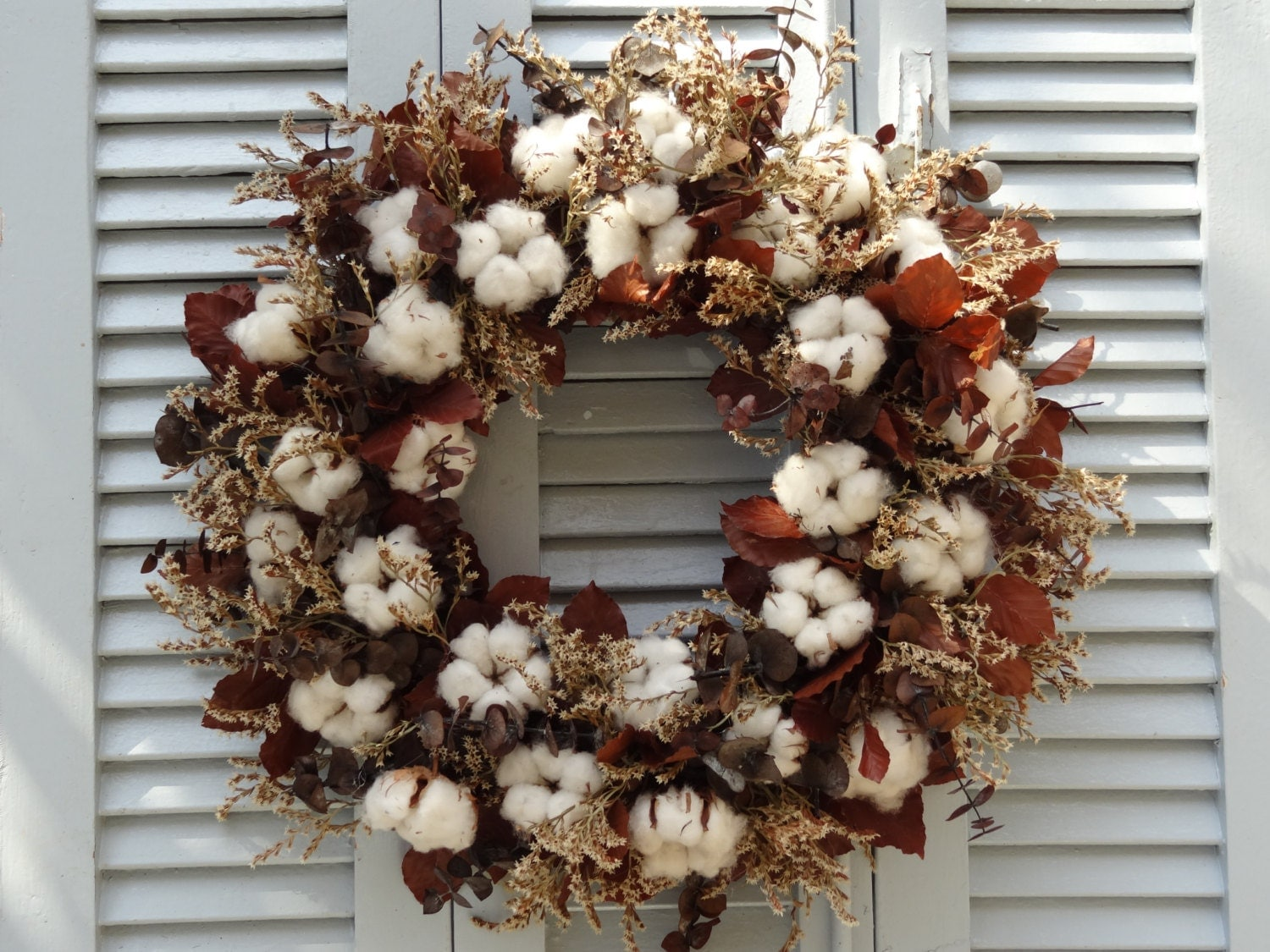 18 Cotton Wreath Natural Colors Wreath Hanging By