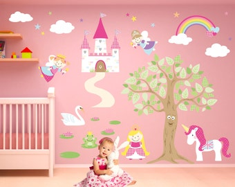 Fairy Wall Decal, Princess Bedroom Decor, Magical Girl Wall Stickers,  Castle, Ride